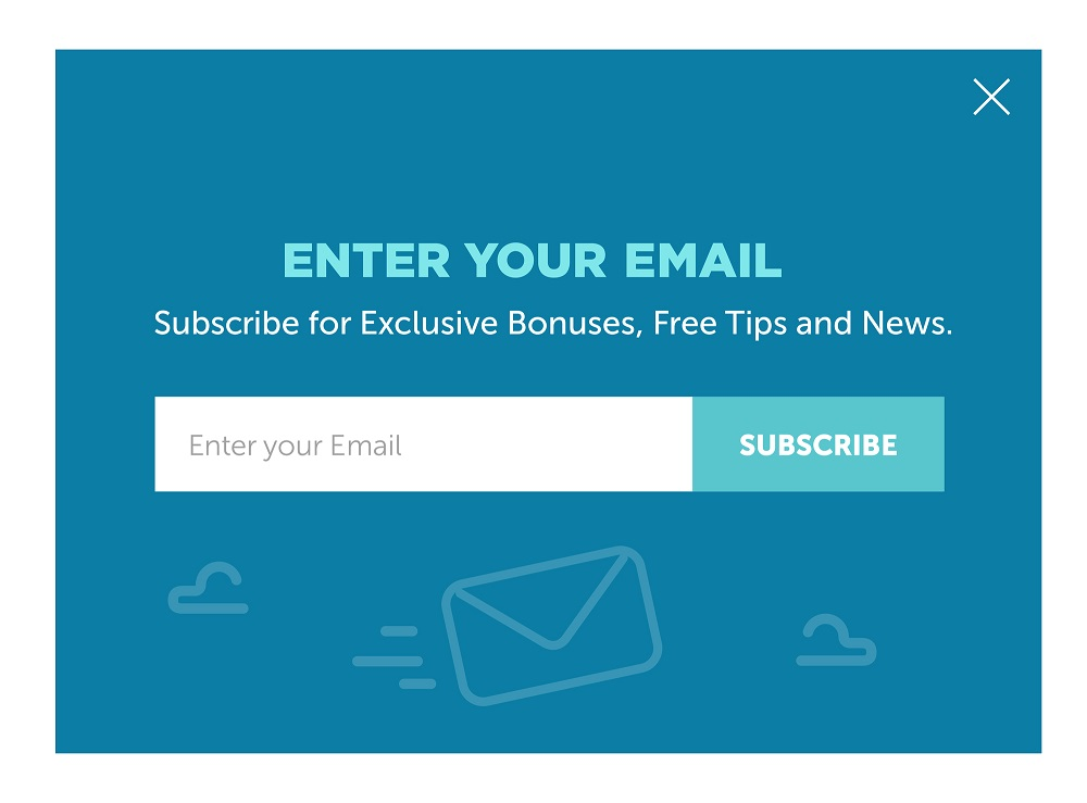 Design of the website form for email subscribe