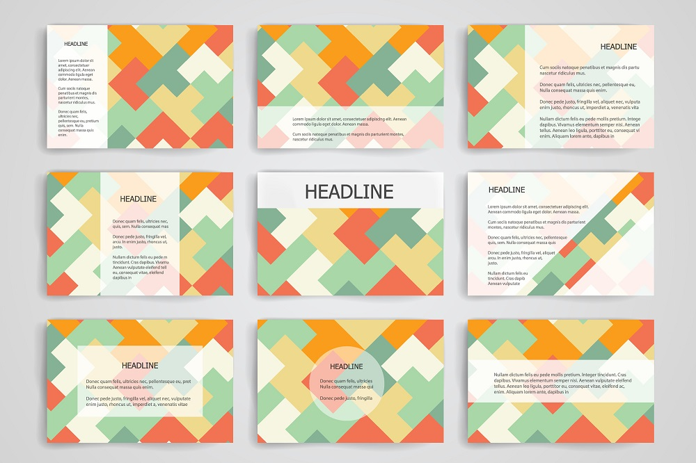 Set of 9 vector templates for presentation slides. Abstract multicolored background  blurred nature landscapes, geometric , triangular style illustration.