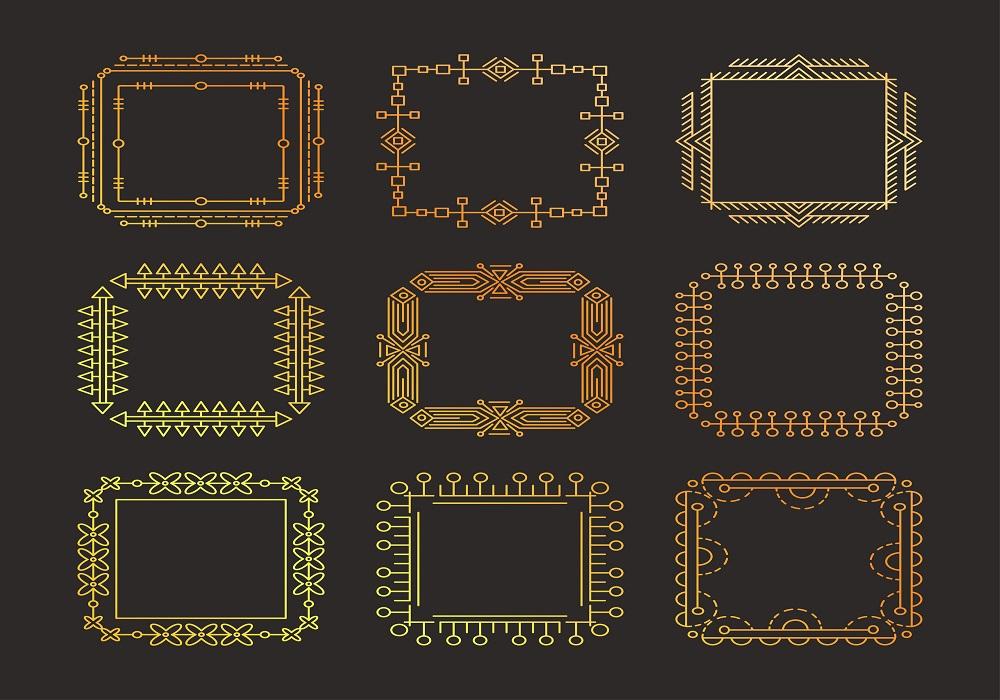 Thin line vector modern geometric frames.