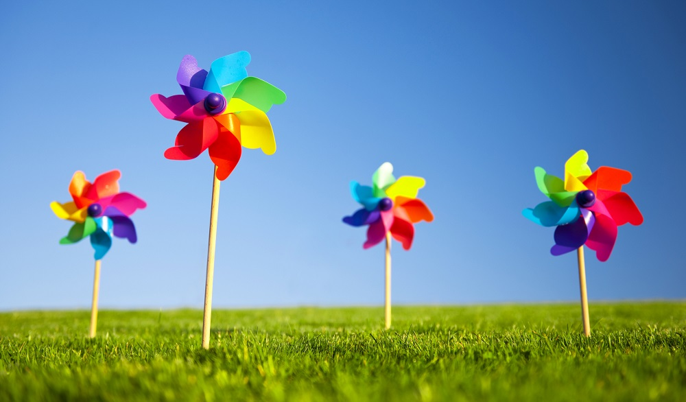 Group of Pinwheels on Grass