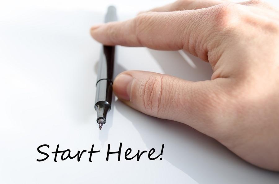 Start here Hand Concept