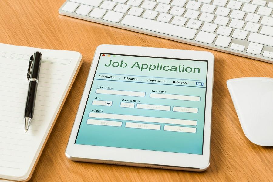 Digital tablet pc showing job application form