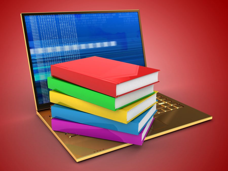 3d illustration of golden computer over red background with digital screen and books